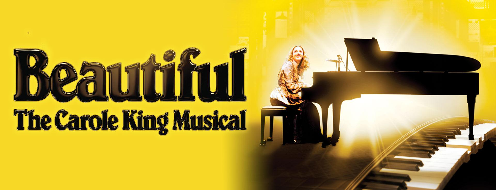 Carousel image for Beautiful: The Carole King Musical.  A woman sits at a grand piano, smiling and looking upwards.  A bright light shines both on her face and from behind the piano.