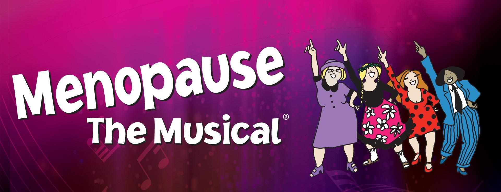 Cartoon images of Menopause the Musical dancing in a line